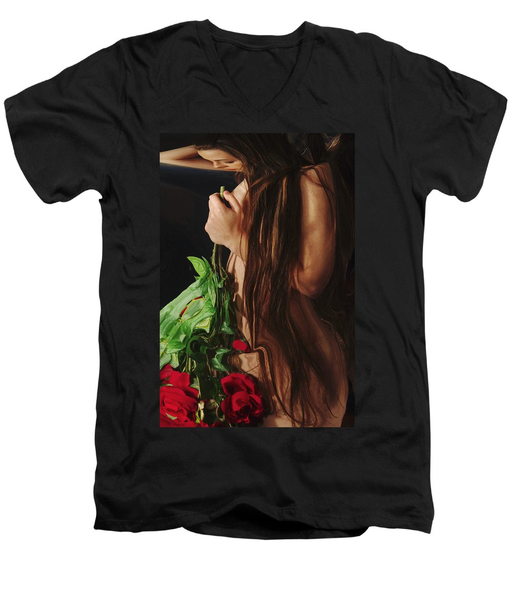 Female Nude Abstract Mirrors Flowers Men's V-Neck T-Shirt featuring the photograph Kazi1179 by Henry Butz