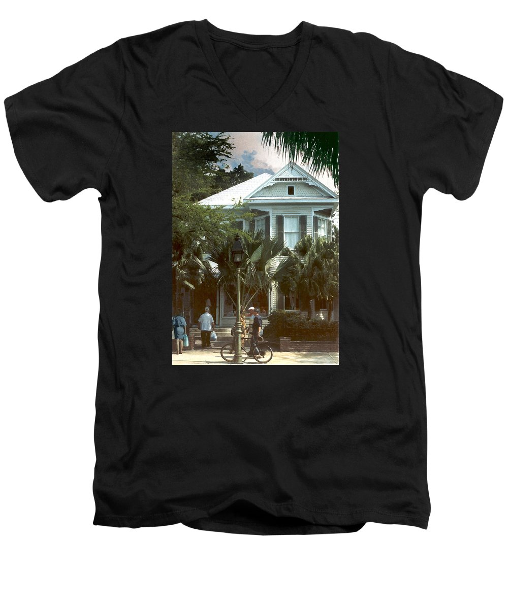 Historic Men's V-Neck T-Shirt featuring the photograph Keywest by Steve Karol