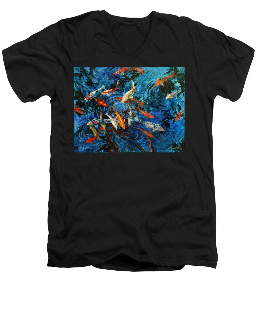 Koi Men's V-Neck T-Shirt featuring the painting Koi IIi by Rick Nederlof