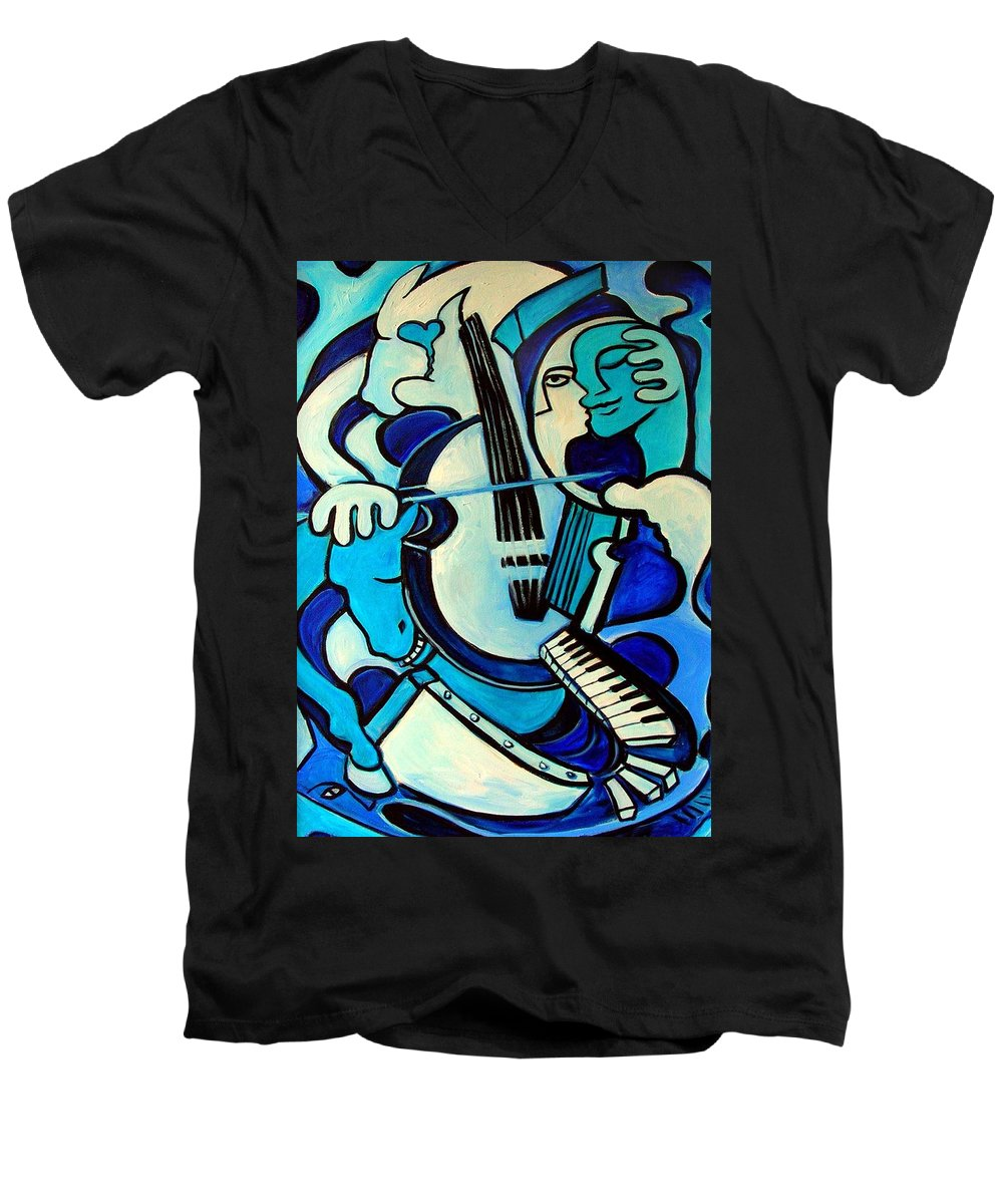 Abstract Men's V-Neck T-Shirt featuring the painting L Amour Ou Quoi by Valerie Vescovi