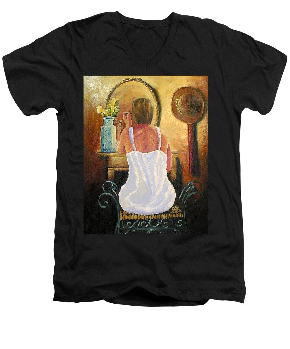 People Men's V-Neck T-Shirt featuring the painting La Coqueta by Arturo Vilmenay