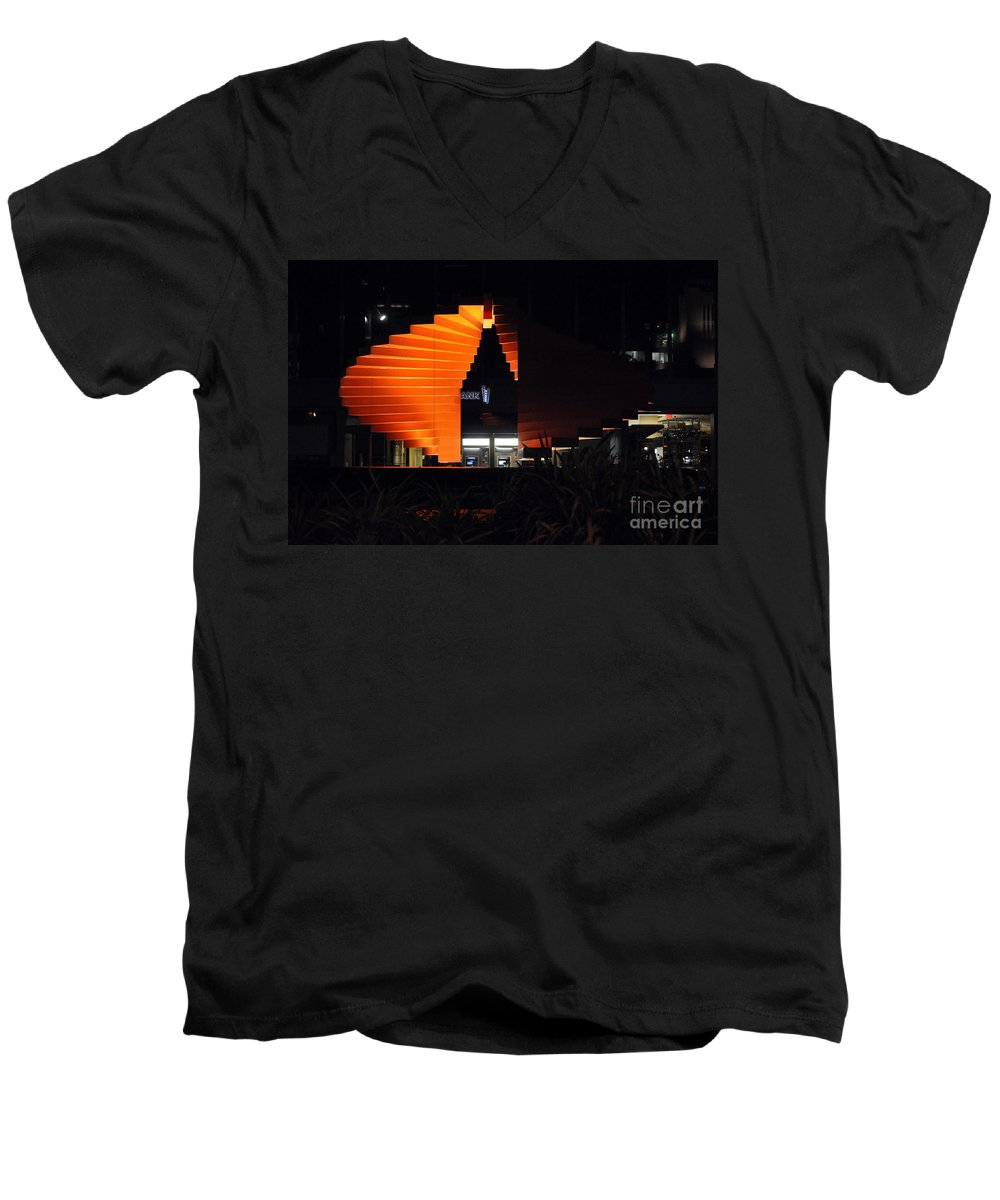 Clay Men's V-Neck T-Shirt featuring the photograph L.a. Nights by Clayton Bruster