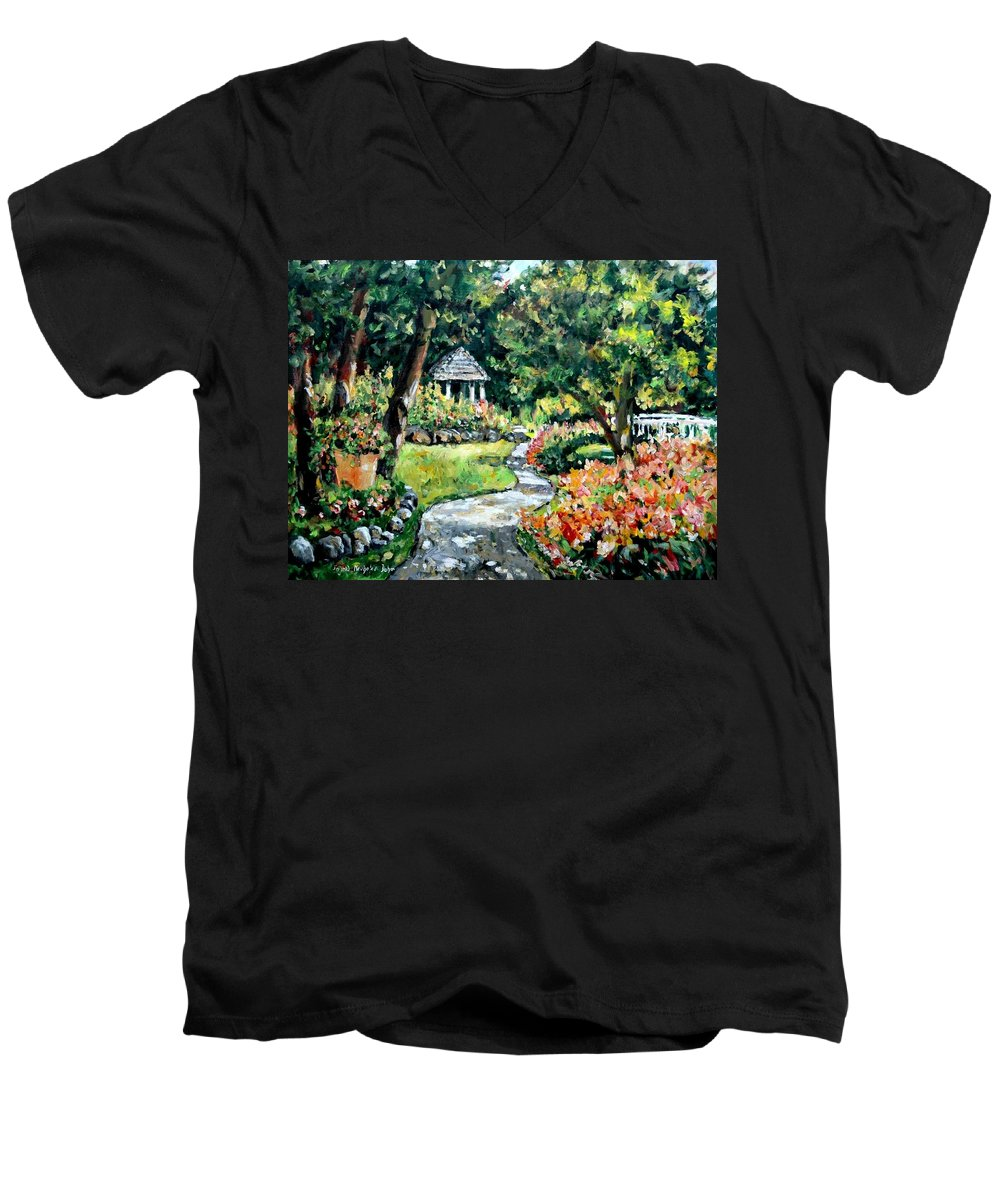 Landscape Men's V-Neck T-Shirt featuring the painting La Paloma Gardens by Alexandra Maria Ethlyn Cheshire