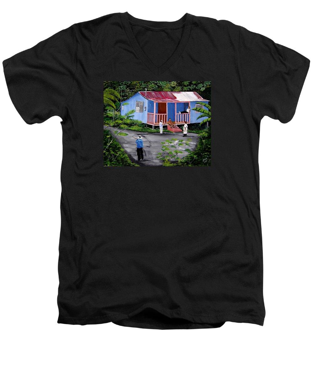 Campo Men's V-Neck T-Shirt featuring the painting La Vida En Las Montanas De Moca by Luis F Rodriguez