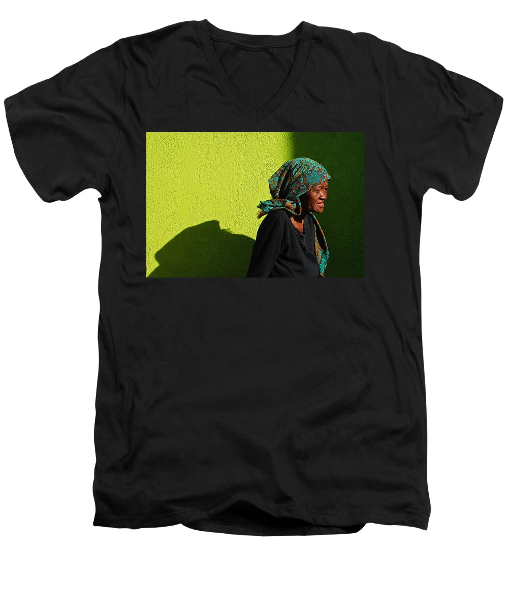 Africa Men's V-Neck T-Shirt featuring the photograph Lady In Green by Skip Hunt