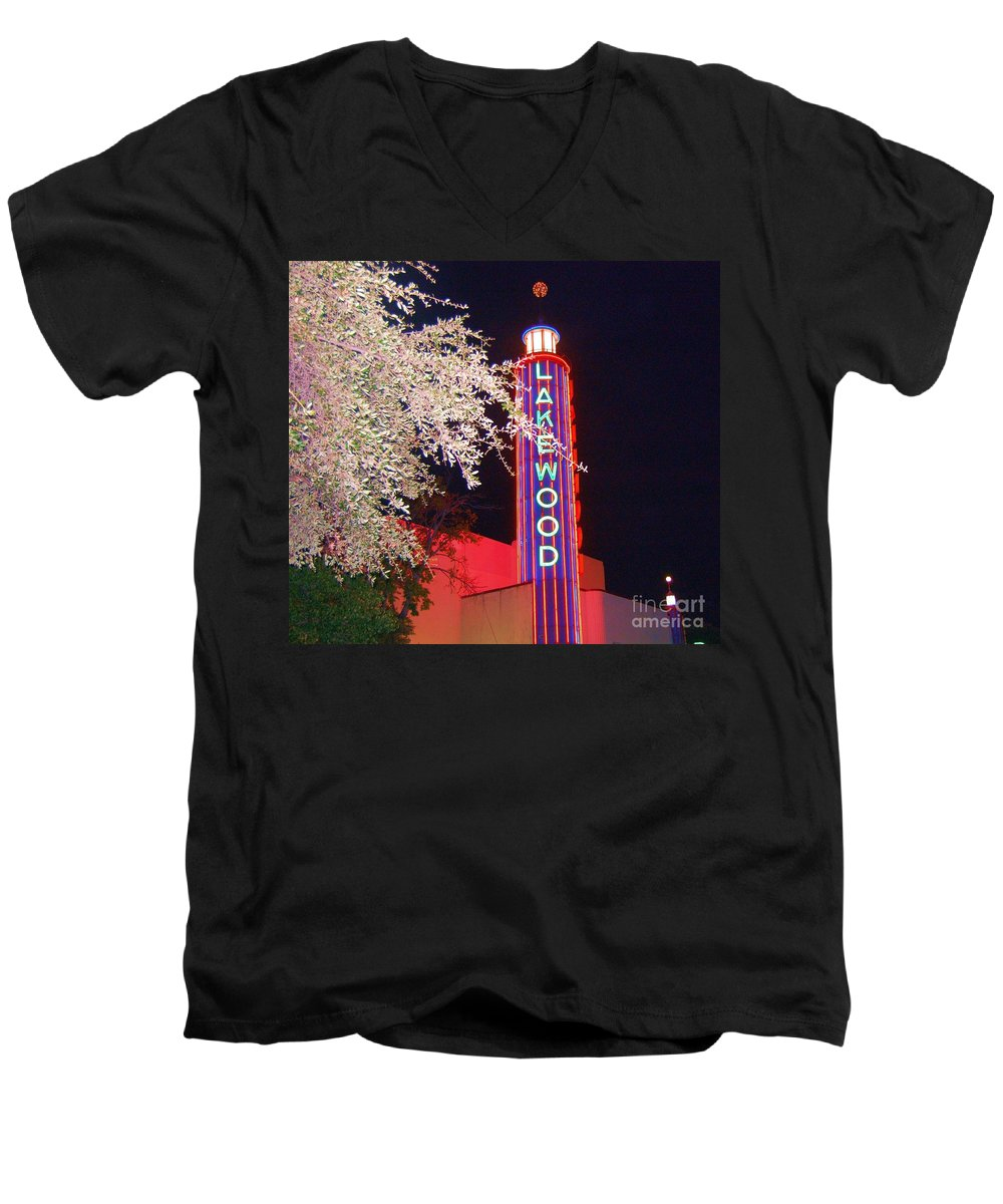 Theater Men's V-Neck T-Shirt featuring the photograph Lakewood Theater by Debbi Granruth