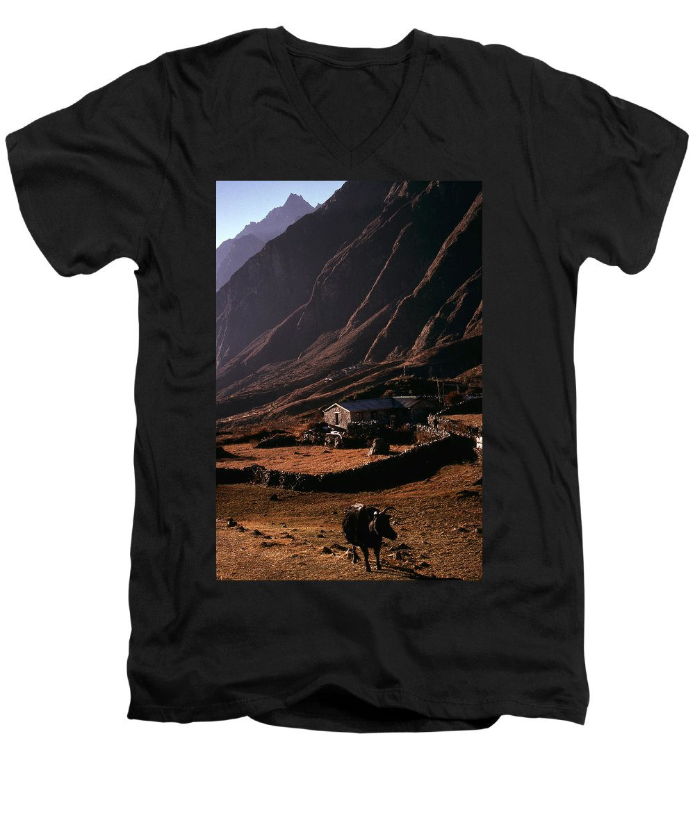 Langtang Men's V-Neck T-Shirt featuring the photograph Langtang Village by Patrick Klauss