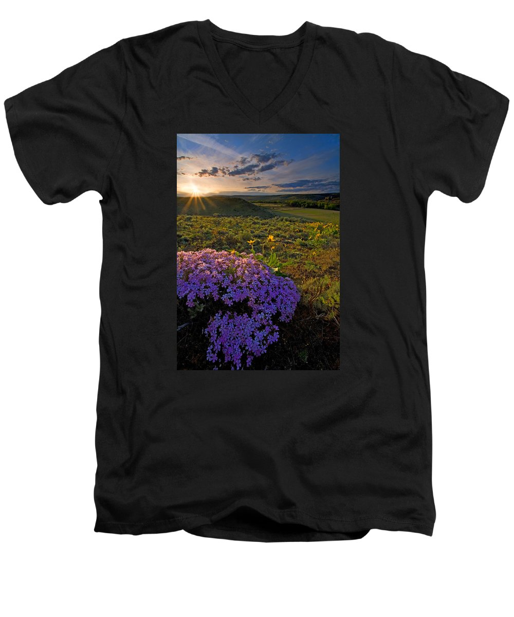 Wildflowers Men's V-Neck T-Shirt featuring the photograph Last Light Of Spring by Mike Dawson