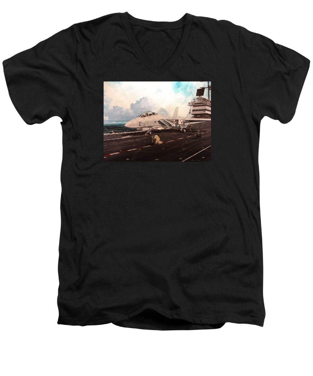 Military Men's V-Neck T-Shirt featuring the painting Launch The Alert 5 by Marc Stewart
