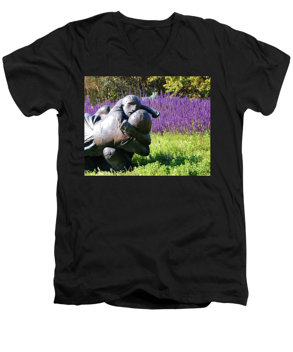 Statue Men's V-Neck T-Shirt featuring the photograph Lavender Lovers by Debbi Granruth