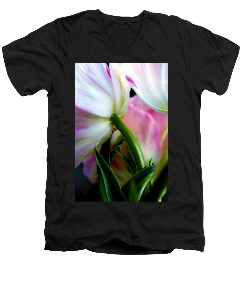 Flower Men's V-Neck T-Shirt featuring the photograph Layers Of Tulips by Marilyn Hunt