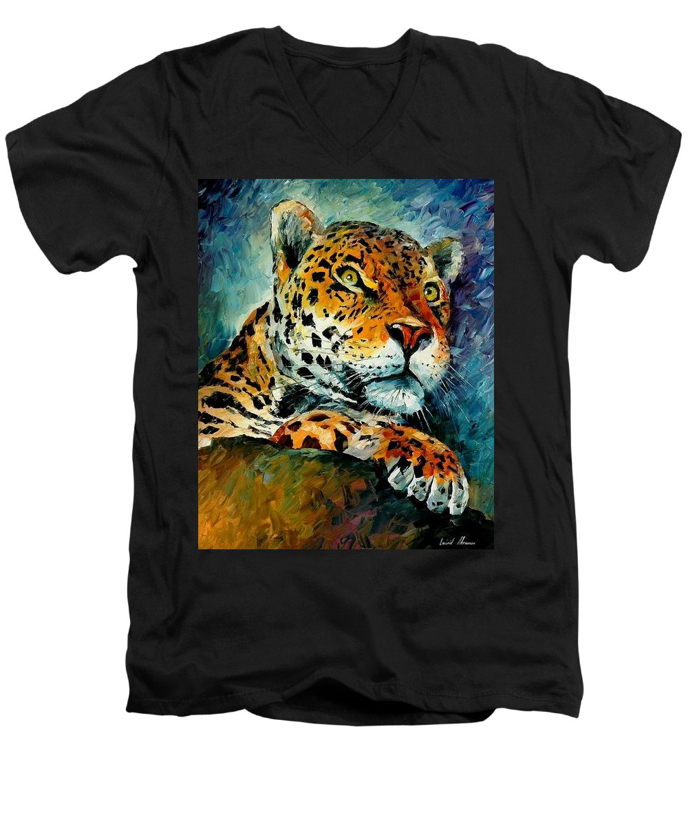 Animals Men's V-Neck T-Shirt featuring the painting Leopard by Leonid Afremov