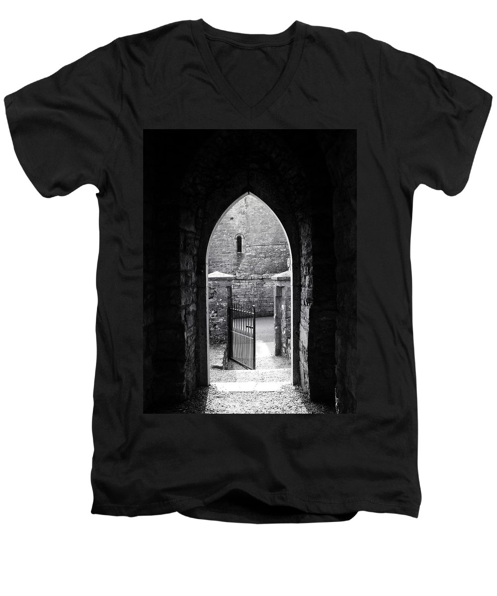 Irish Men's V-Neck T-Shirt featuring the photograph Let There Be Light Cong Church And Abbey Cong Ireland by Teresa Mucha