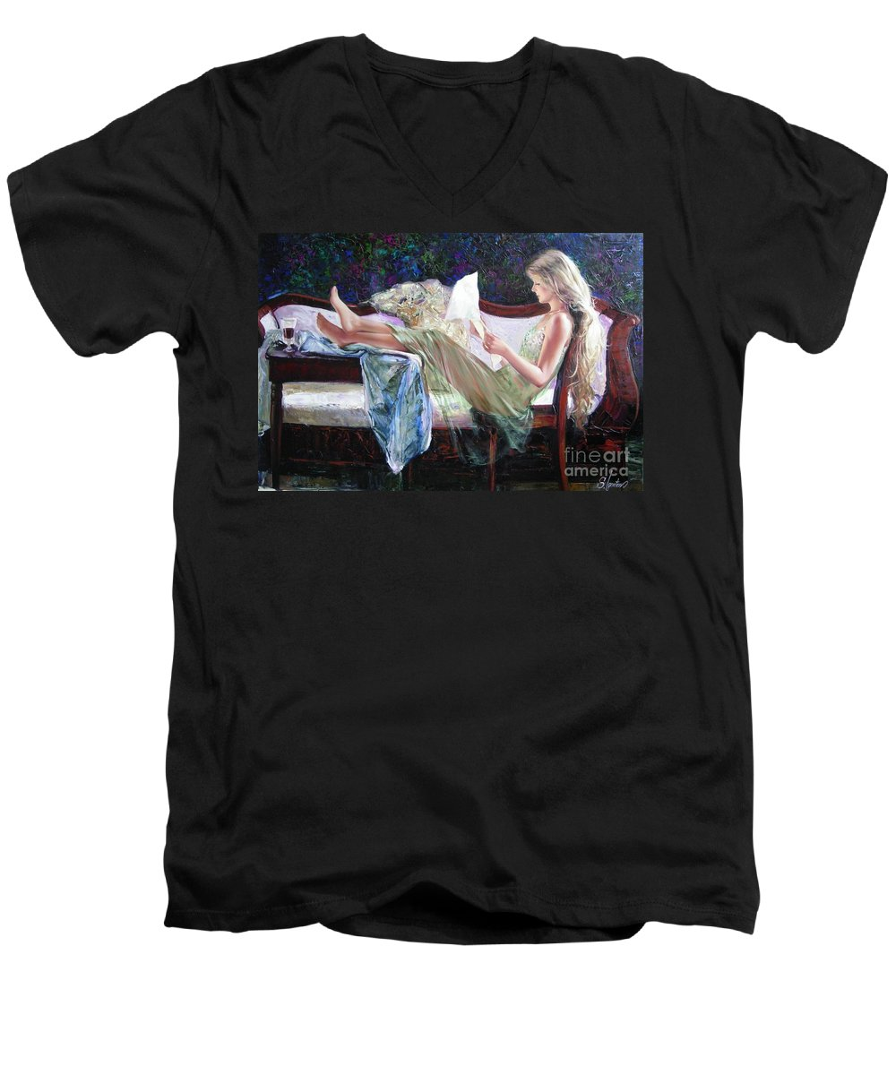 Figurative Men's V-Neck T-Shirt featuring the painting Letter From Him by Sergey Ignatenko