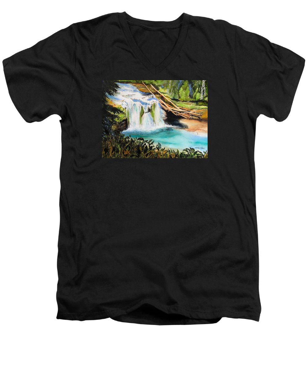 Water Men's V-Neck T-Shirt featuring the painting Lewis River Falls by Karen Stark