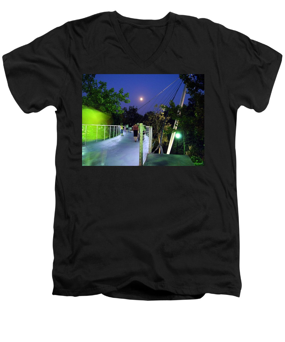 Liberty Bridge Men's V-Neck T-Shirt featuring the photograph Liberty Bridge At Night Greenville South Carolina by Flavia Westerwelle