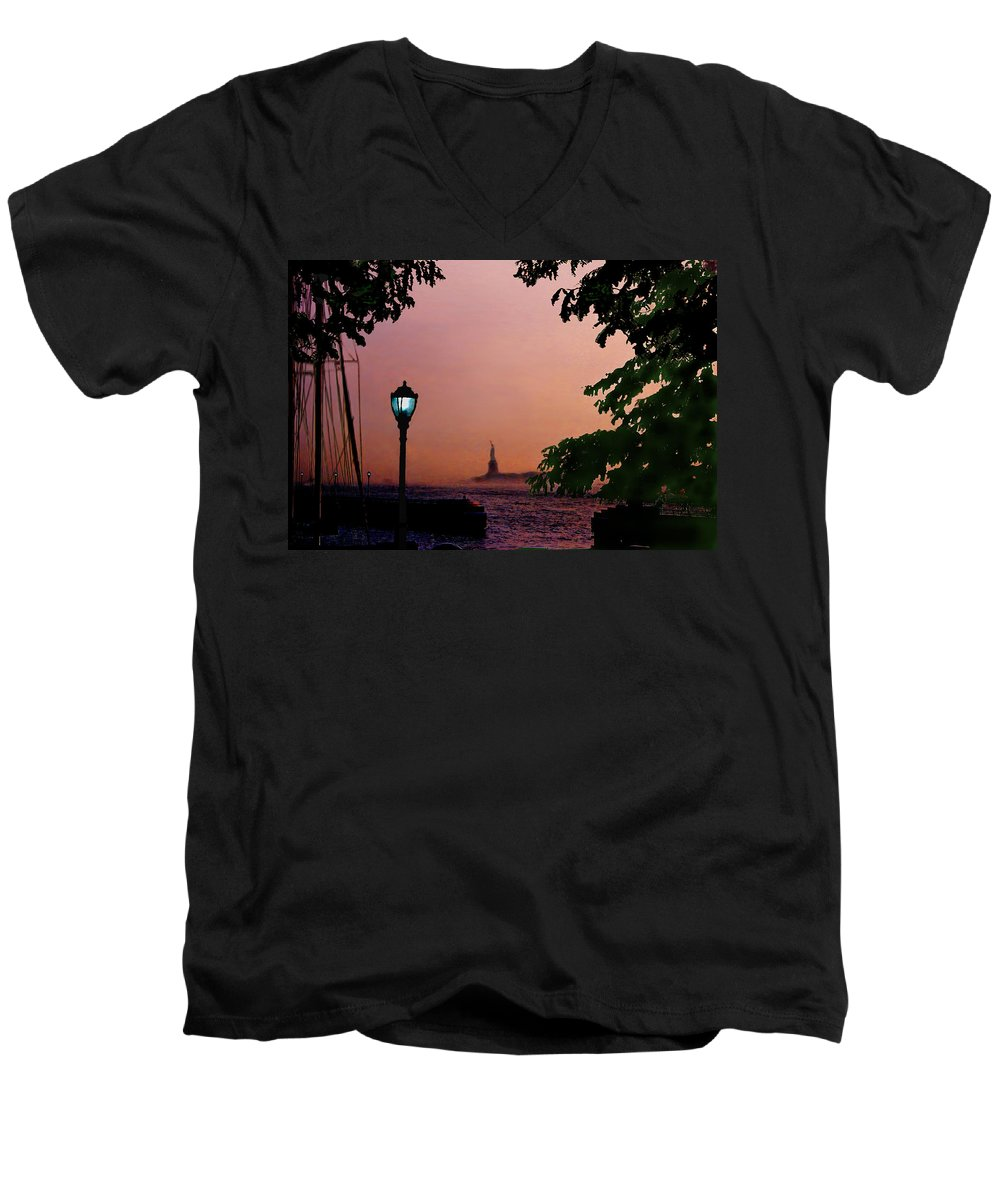 Seascape Men's V-Neck T-Shirt featuring the digital art Liberty Fading Seascape by Steve Karol