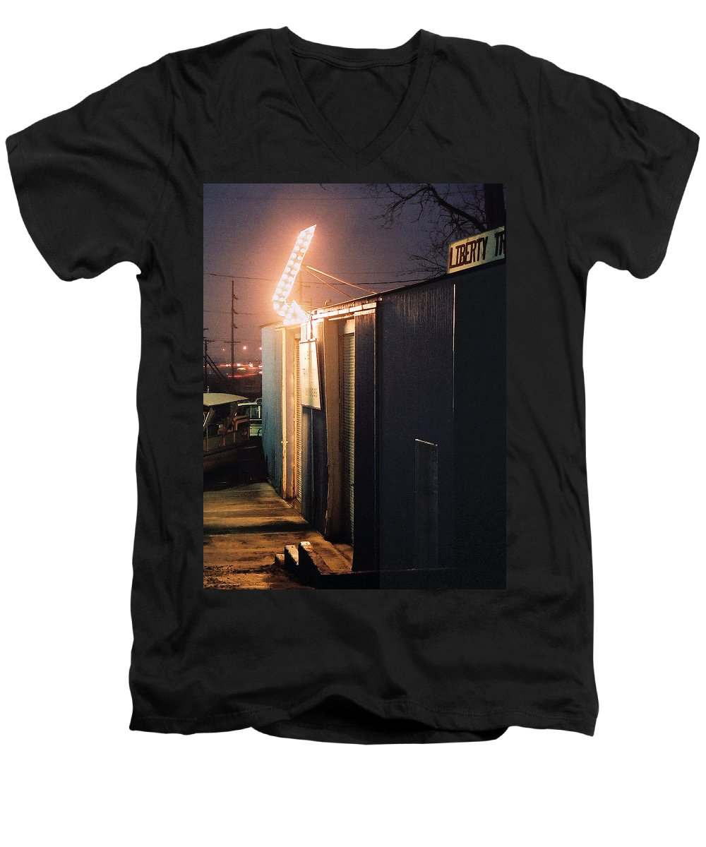 Night Scene Men's V-Neck T-Shirt featuring the photograph Liberty by Steve Karol