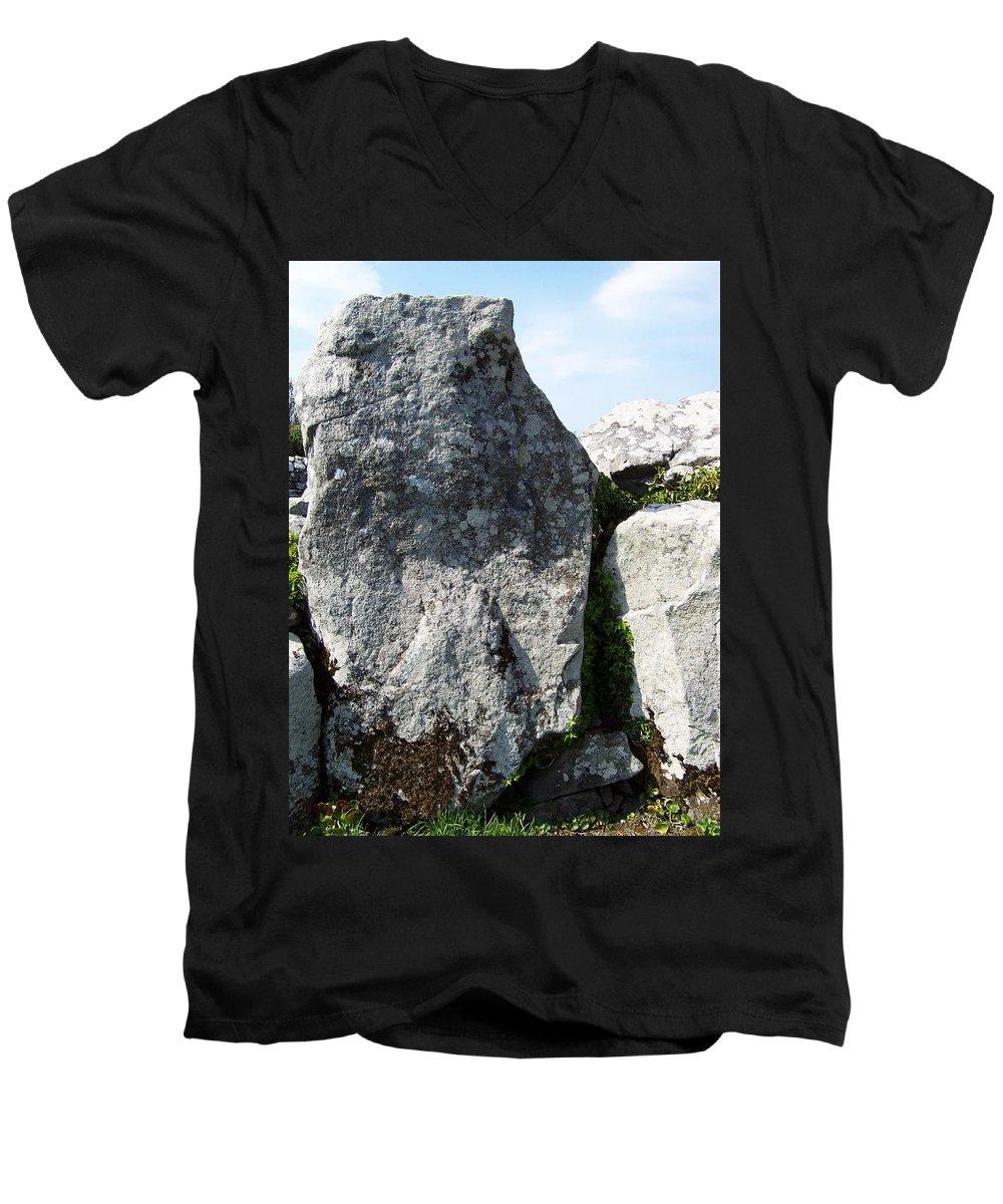 Irish Men's V-Neck T-Shirt featuring the photograph Life At Creevykeel Court Cairn Sligo Ireland by Teresa Mucha