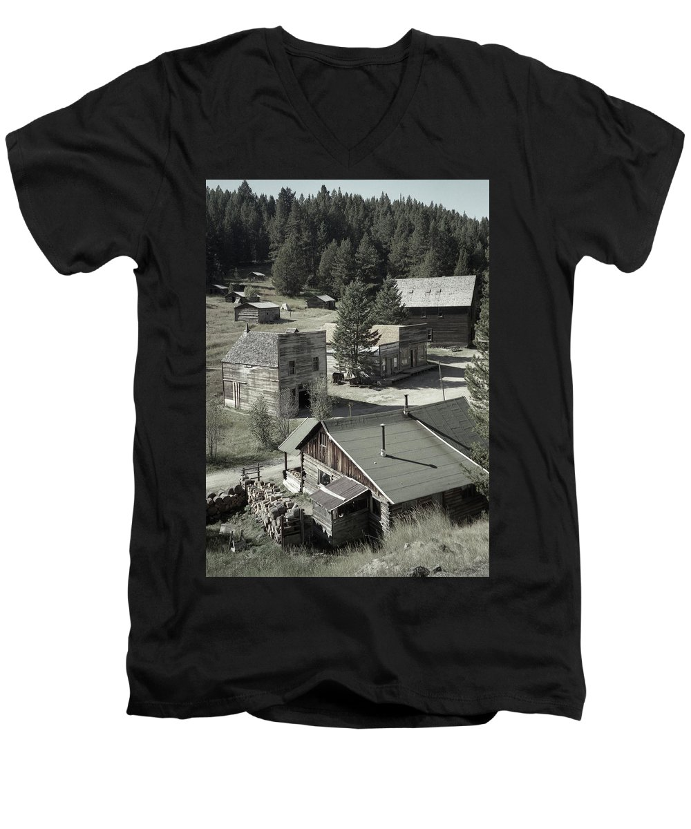 Ghost Towns Men's V-Neck T-Shirt featuring the photograph Life In A Ghost Town by Richard Rizzo
