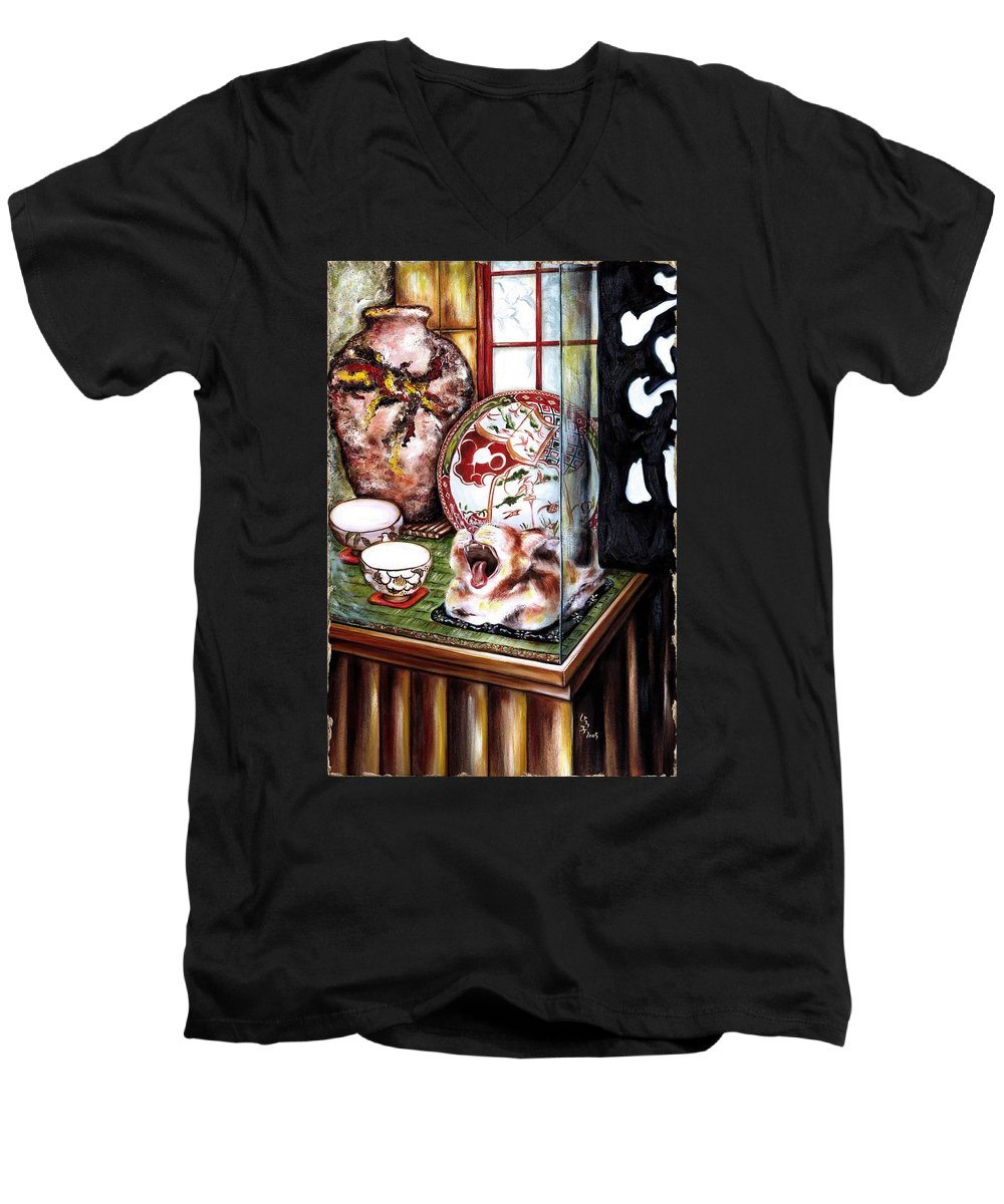 Cat Men's V-Neck T-Shirt featuring the painting Life Is Beautiful by Hiroko Sakai