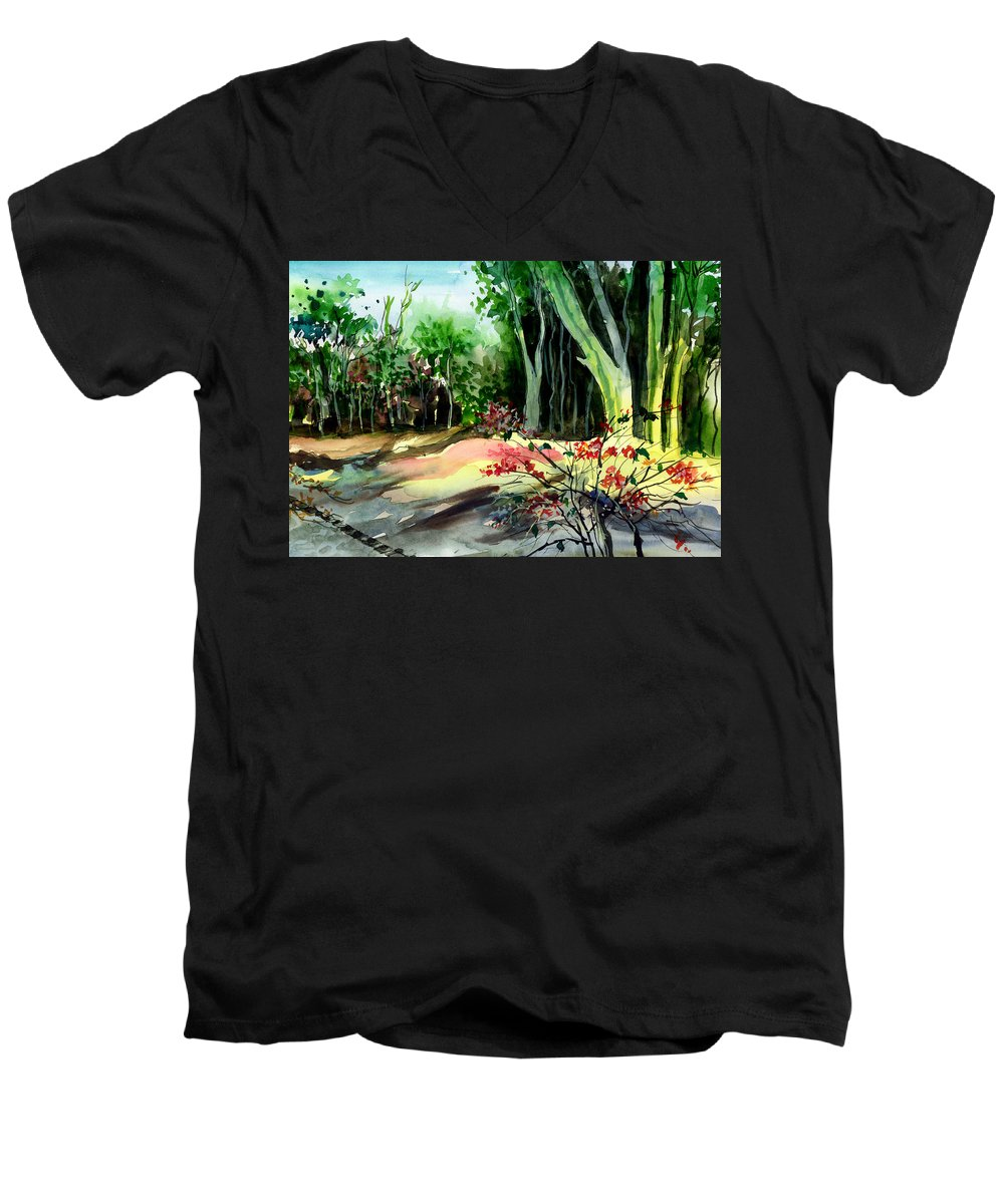 Watercolor Men's V-Neck T-Shirt featuring the painting Light In The Woods by Anil Nene