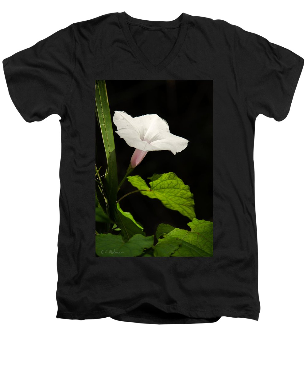 Flower Men's V-Neck T-Shirt featuring the photograph Light Out Of The Dark by Christopher Holmes