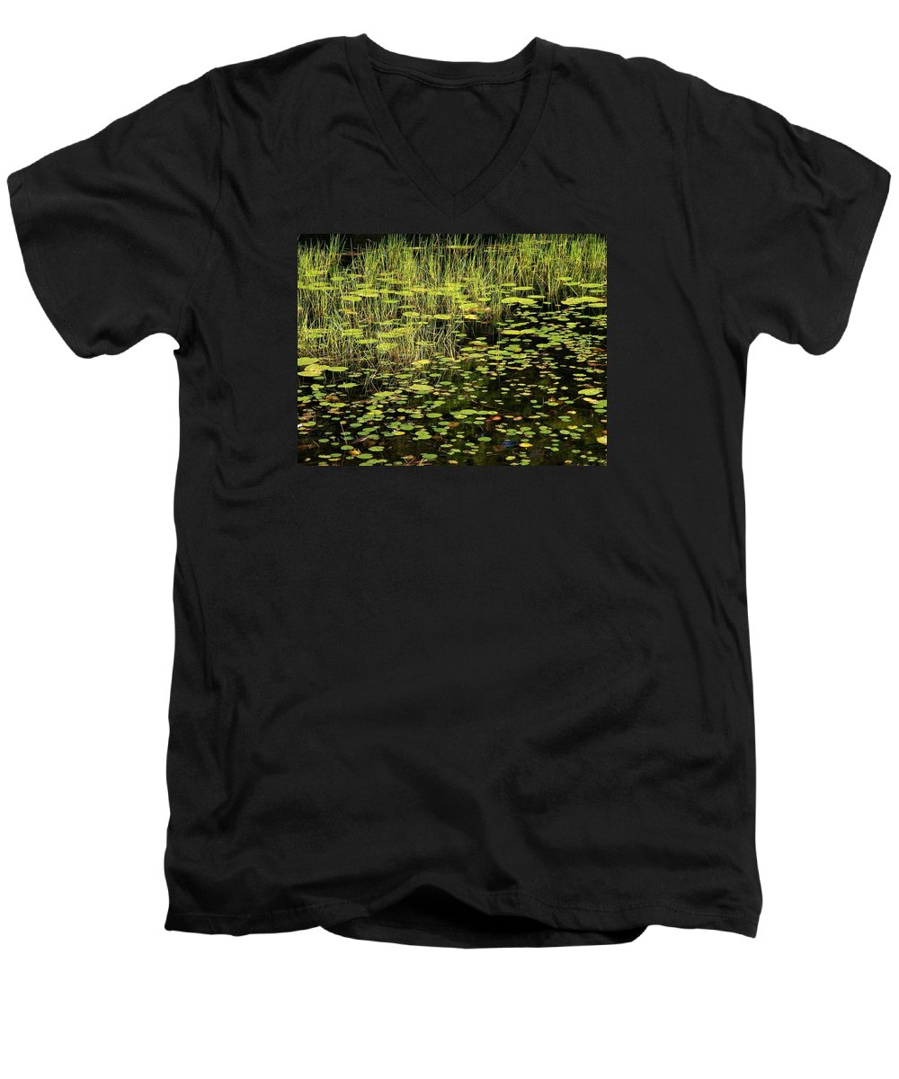 Pond Men's V-Neck T-Shirt featuring the photograph Lily Pad Place by Dave Martsolf