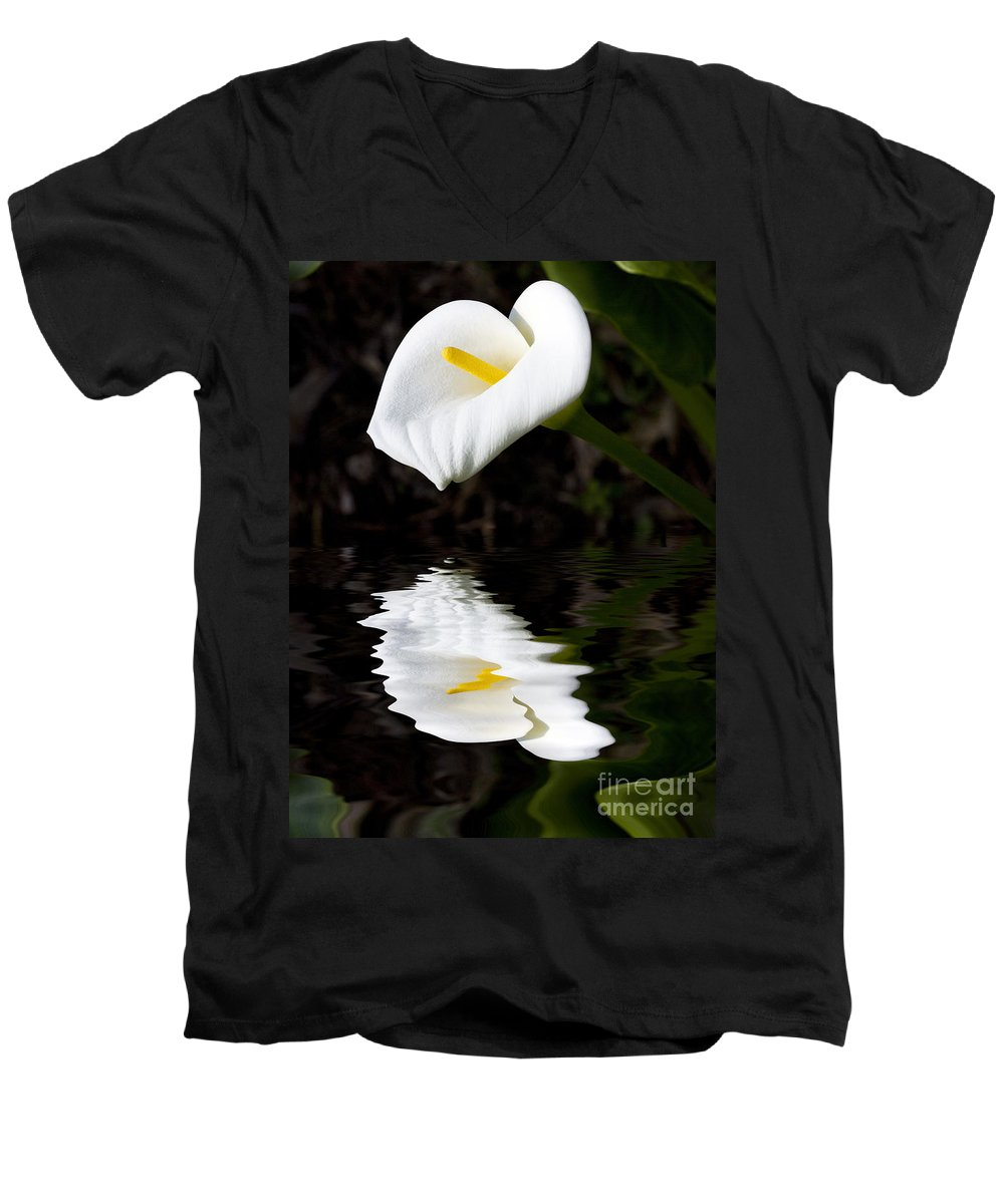 Lily Reflection Flora Flower Men's V-Neck T-Shirt featuring the photograph Lily Reflection by Sheila Smart Fine Art Photography
