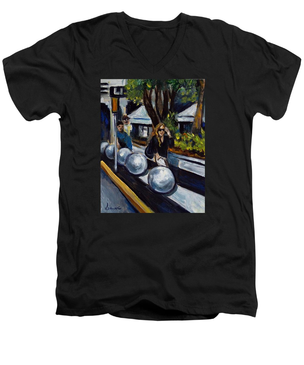 Shopping Men's V-Neck T-Shirt featuring the painting Lincoln Road by Valerie Vescovi