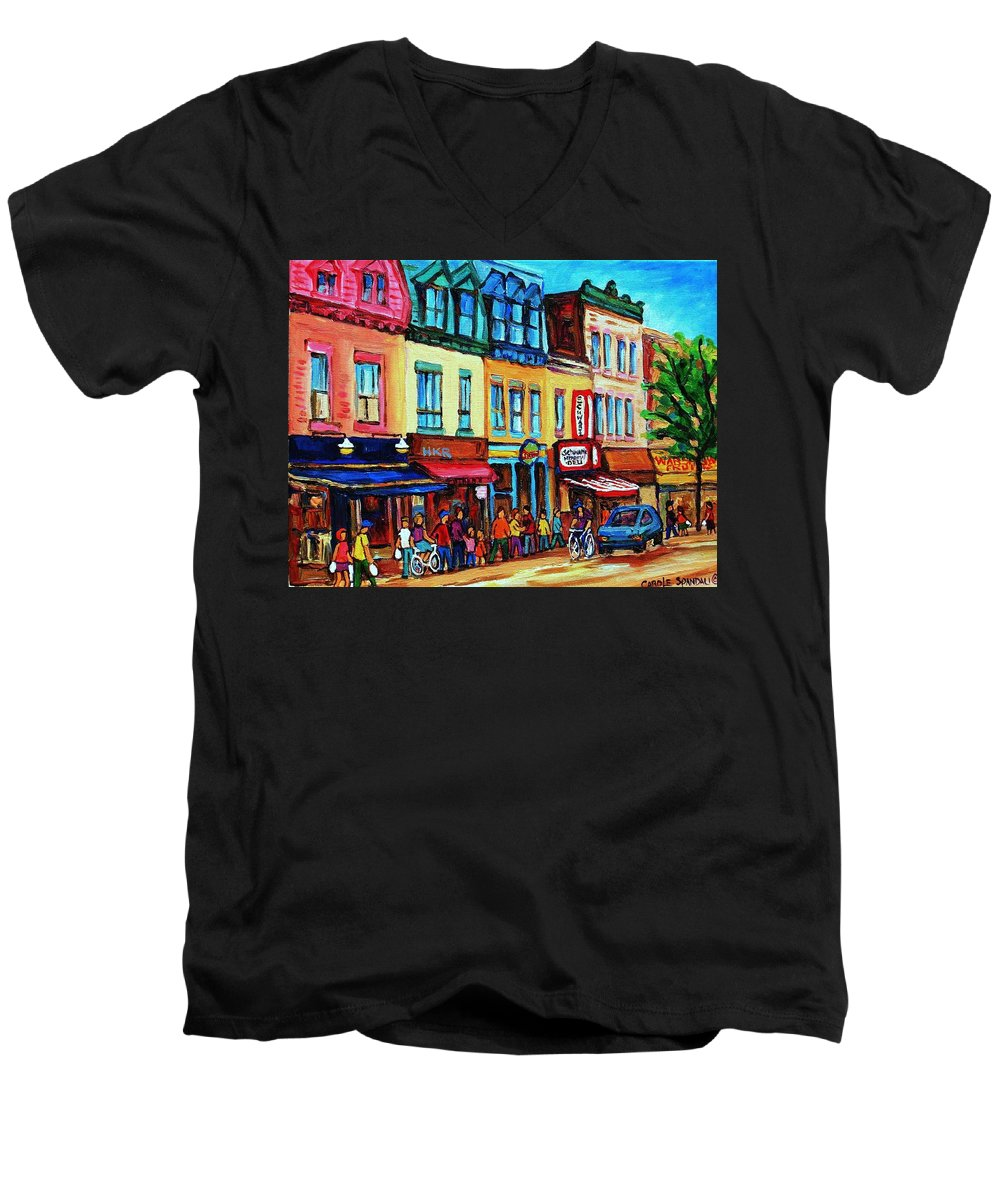 Cityscape Men's V-Neck T-Shirt featuring the painting Lineup For Smoked Meat Sandwiches by Carole Spandau