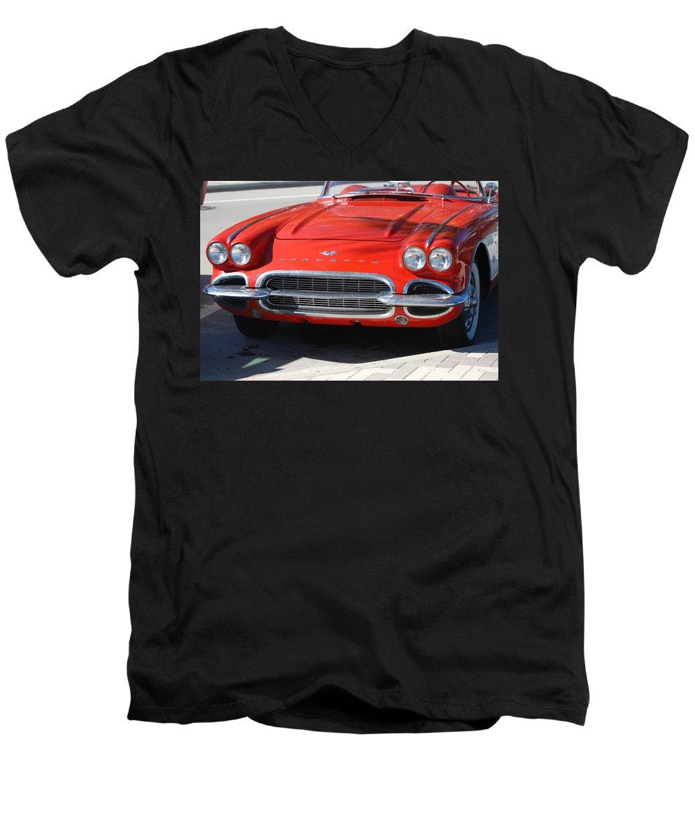 Corvette Men's V-Neck T-Shirt featuring the photograph Little Red Corvette by Rob Hans