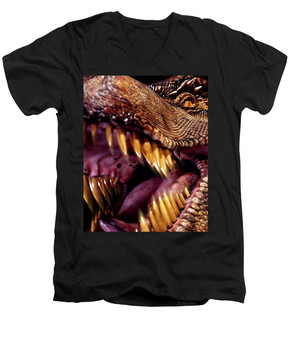 Tyrannosaurus Rex Men's V-Neck T-Shirt featuring the photograph Lizard King by Kelley King
