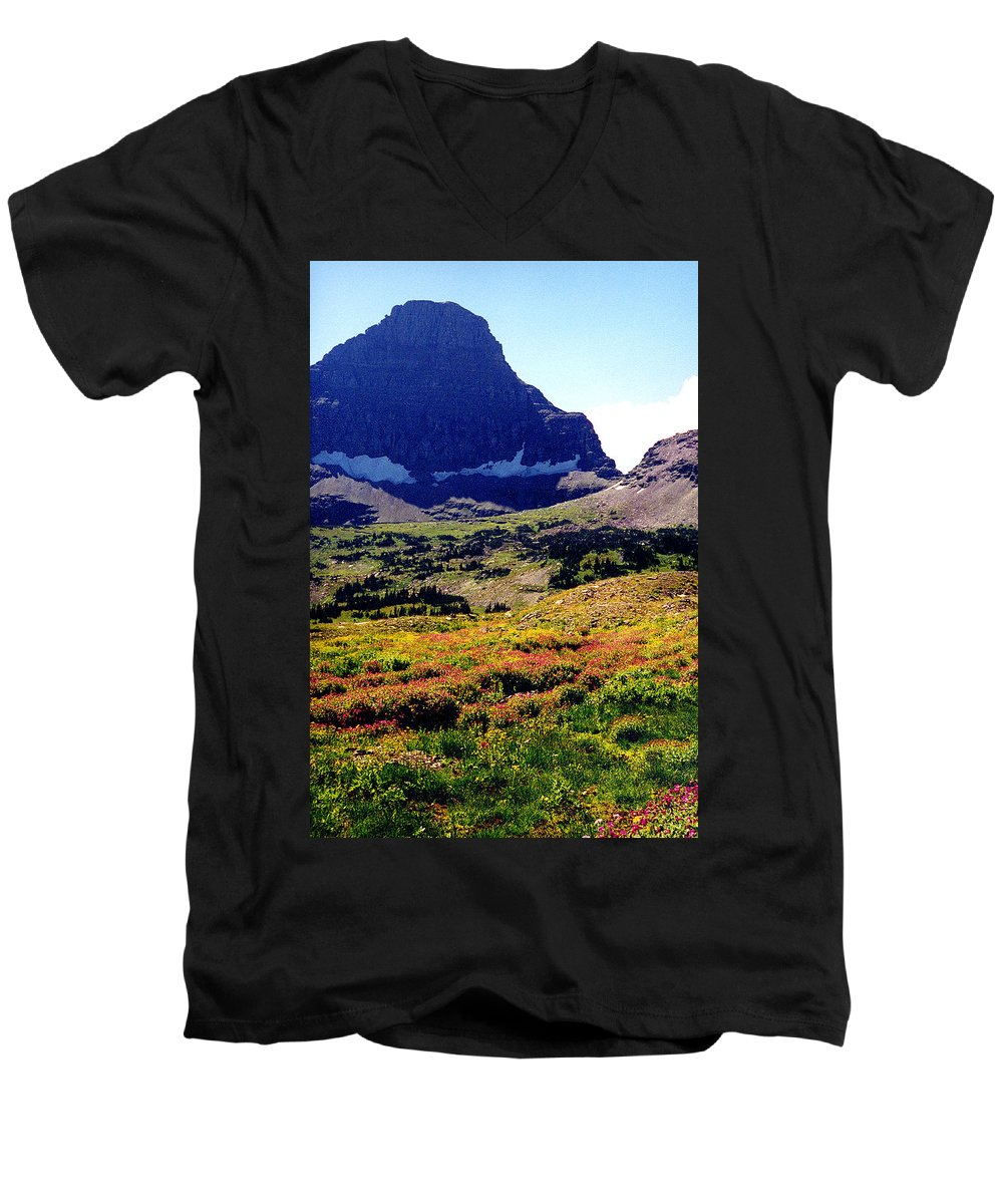 Glacier National Park Men's V-Neck T-Shirt featuring the photograph Logans Pass In Glacier National Park by Nancy Mueller