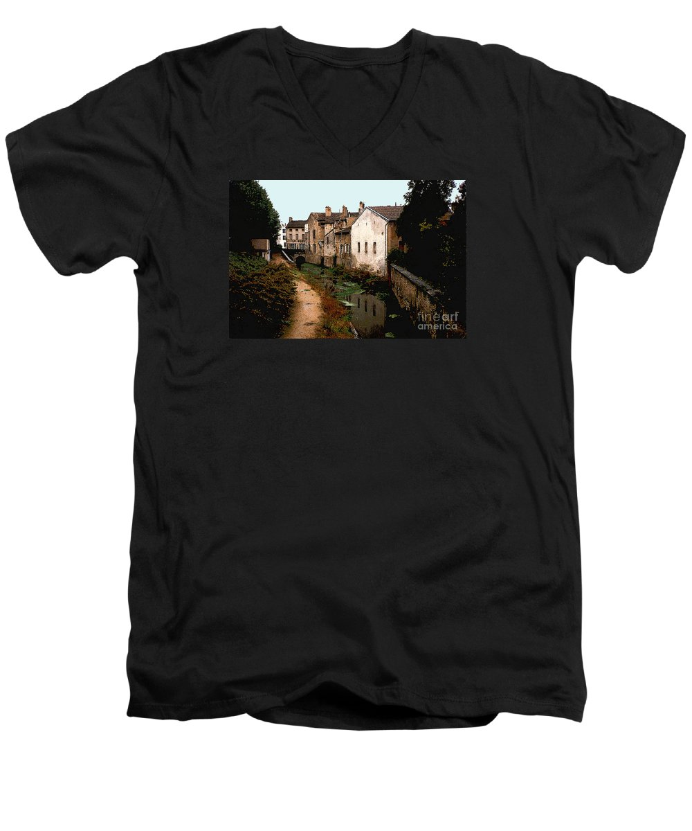 France Men's V-Neck T-Shirt featuring the photograph Loire Valley Village Scene by Nancy Mueller