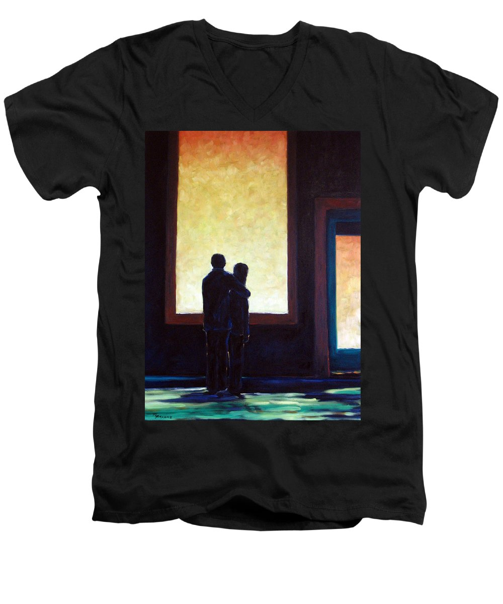 Pranke Men's V-Neck T-Shirt featuring the painting Looking In Looking Out by Richard T Pranke