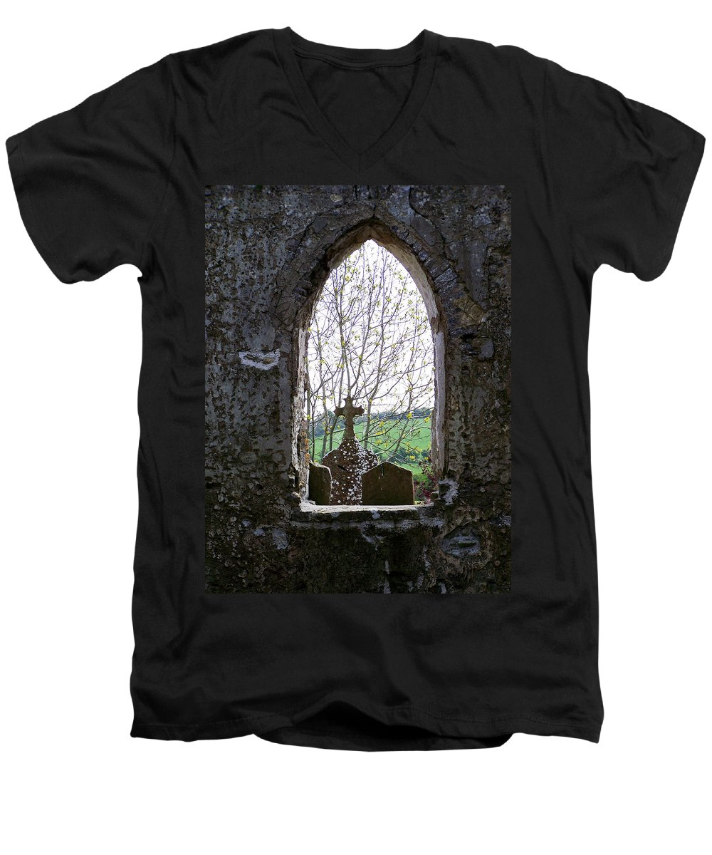 Ireland Men's V-Neck T-Shirt featuring the photograph Looking Out Fuerty Church Roscommon Ireland by Teresa Mucha