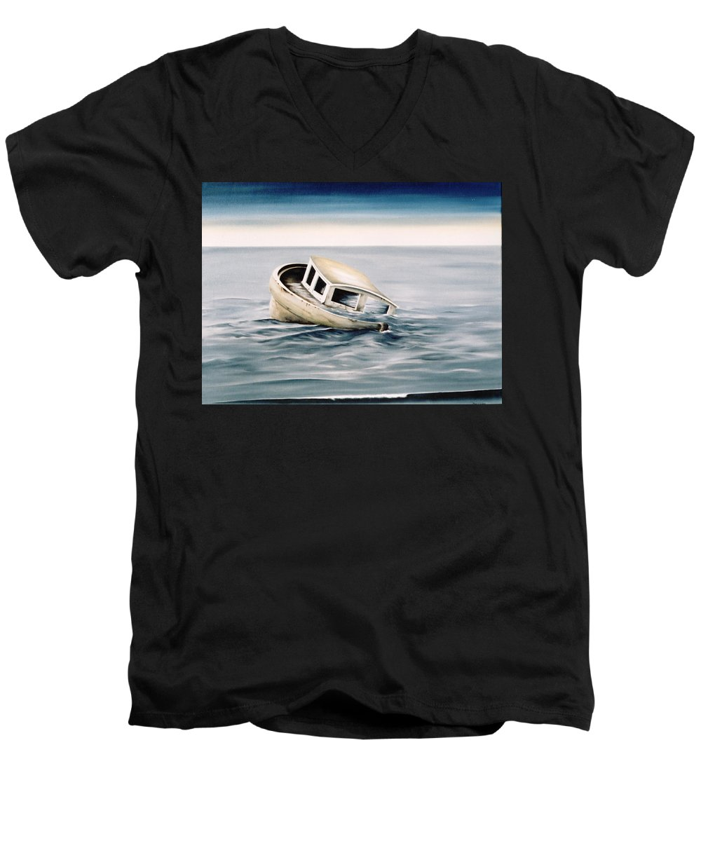 Seascape Men's V-Neck T-Shirt featuring the painting Lost At Sea Contd by Mark Cawood