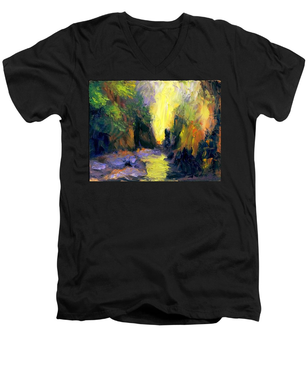 Landscape Men's V-Neck T-Shirt featuring the painting Lost Creek by Gail Kirtz