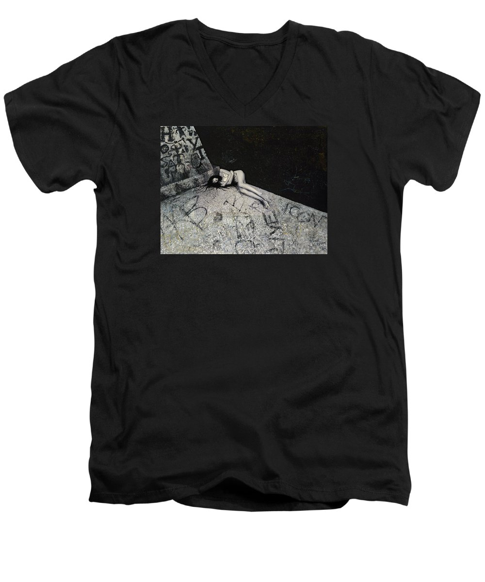 City Men's V-Neck T-Shirt featuring the painting Lost In New York by Yelena Tylkina