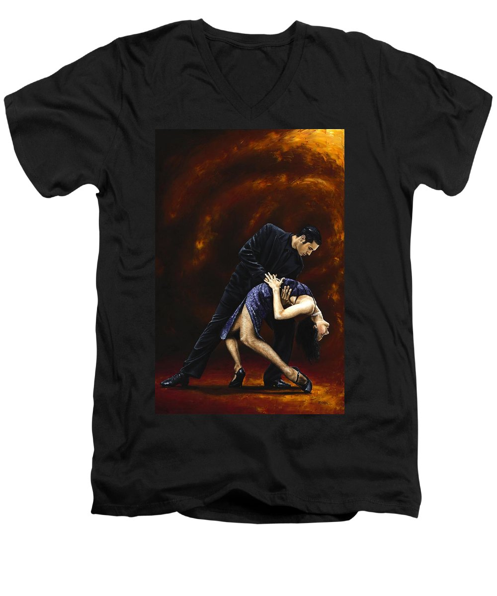 Tango Men's V-Neck T-Shirt featuring the painting Lost In Tango by Richard Young