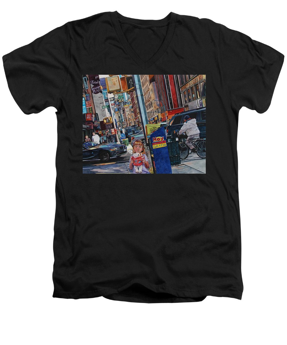City Men's V-Neck T-Shirt featuring the painting Lost by Valerie Patterson