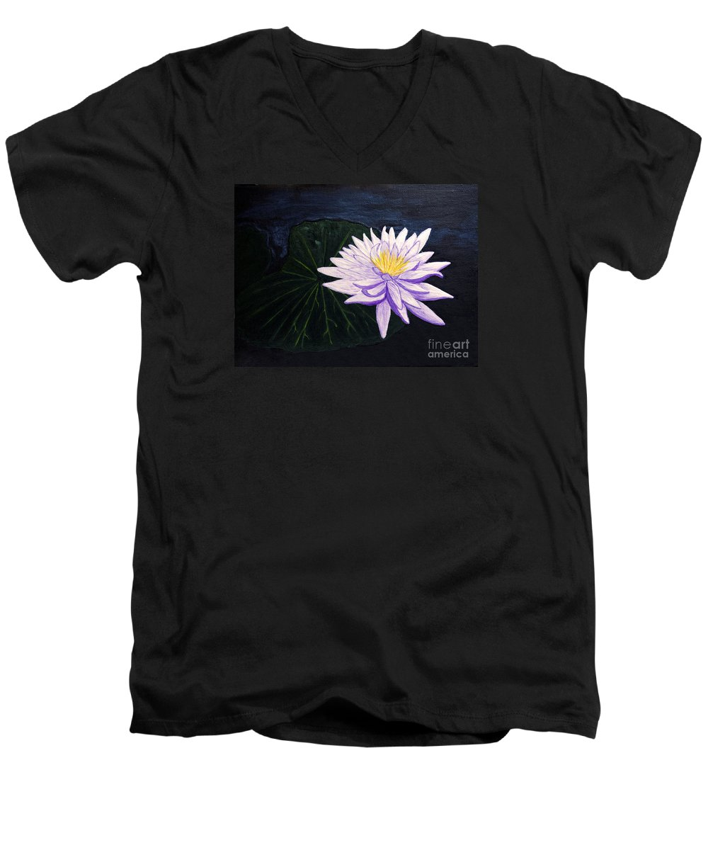 Original Painting Men's V-Neck T-Shirt featuring the painting Lotus Blossom At Night by Patricia Griffin Brett