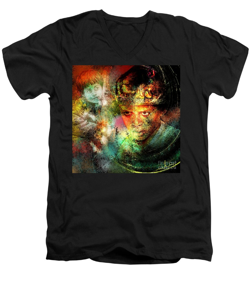 Portrait Men's V-Neck T-Shirt featuring the painting Love For The Boy King by Miki De Goodaboom