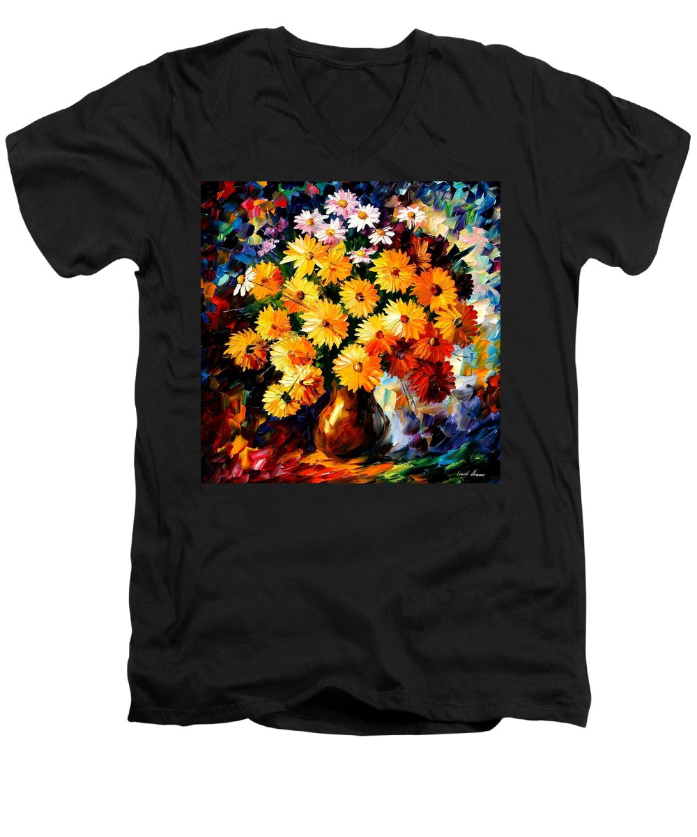 Flowers Men's V-Neck T-Shirt featuring the painting Love Irradiation by Leonid Afremov