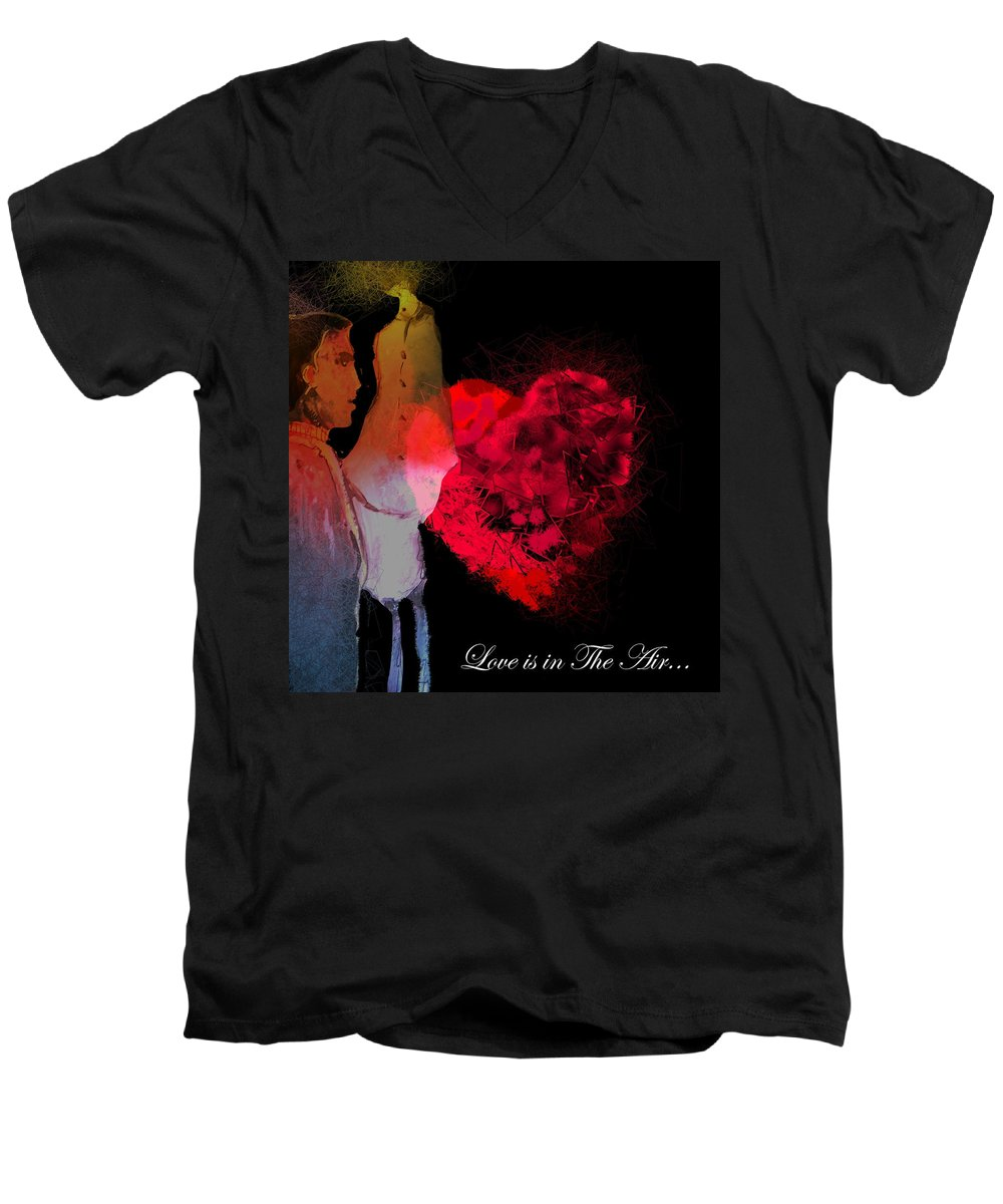 Love Men's V-Neck T-Shirt featuring the painting Love Is In The Air by Miki De Goodaboom