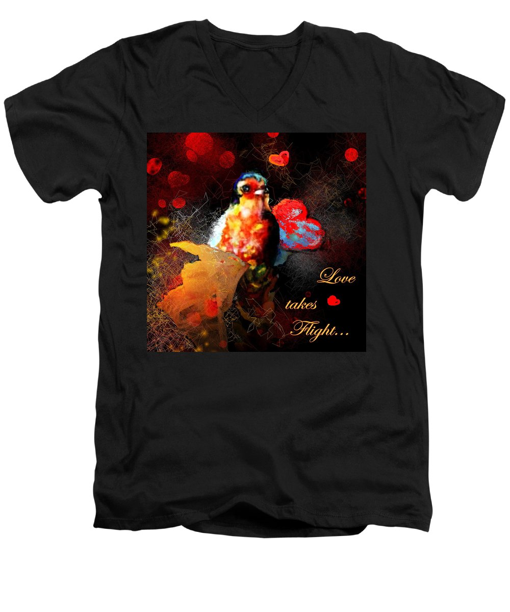 Love Men's V-Neck T-Shirt featuring the painting Love Takes Flight by Miki De Goodaboom