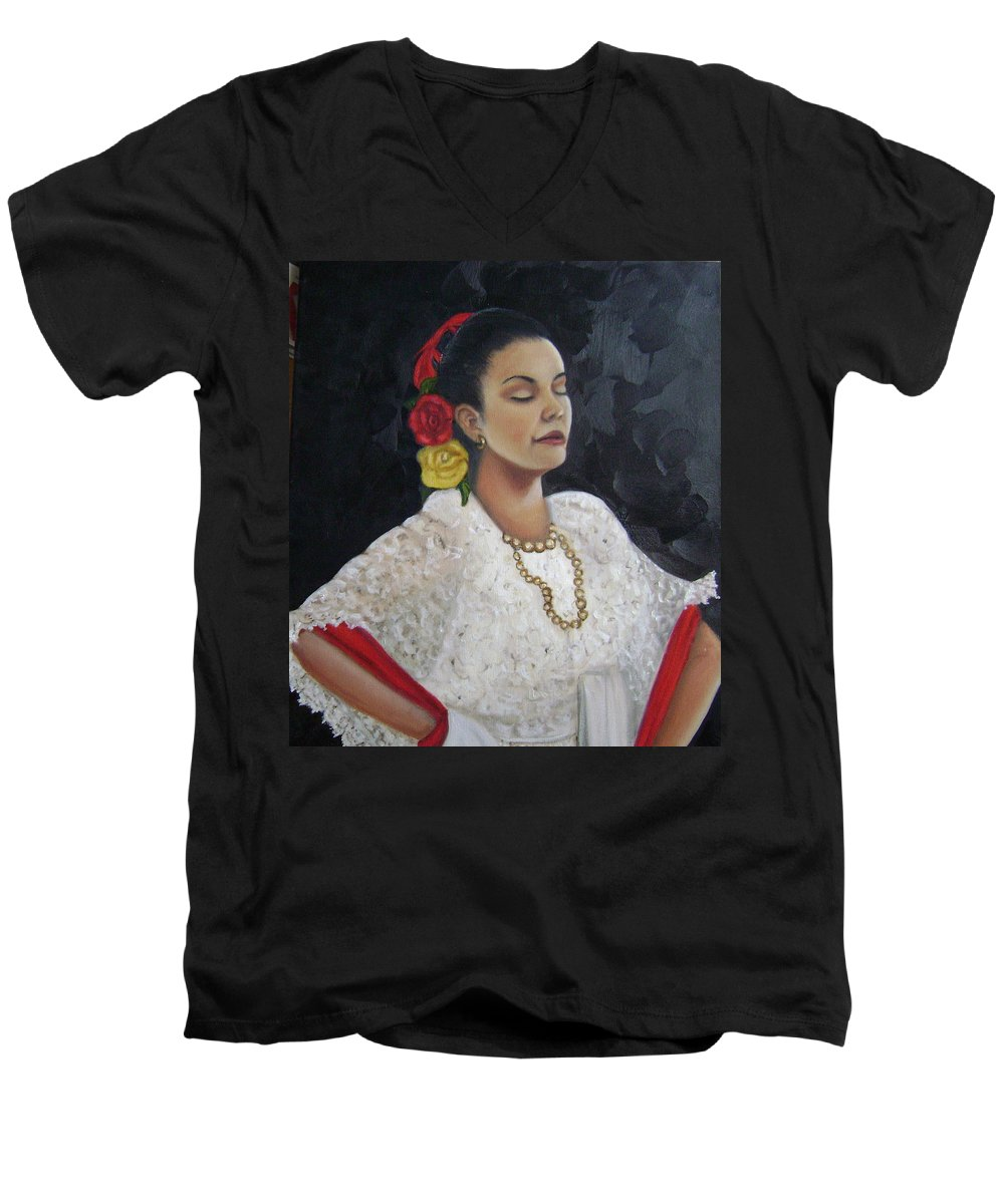 Men's V-Neck T-Shirt featuring the painting Lucinda by Toni Berry