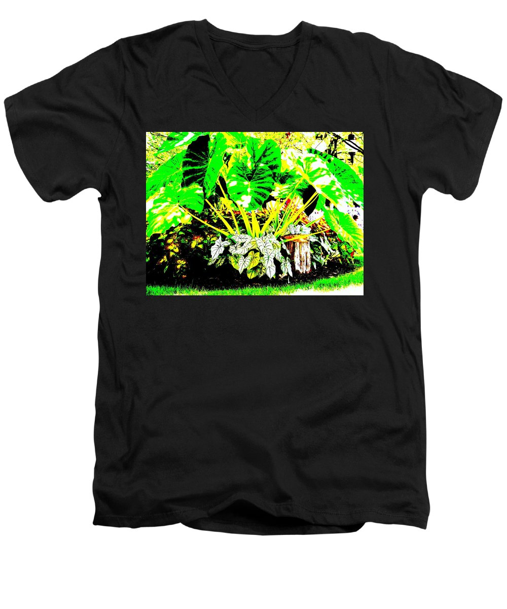 Plants Men's V-Neck T-Shirt featuring the photograph Lush Garden by Ed Smith