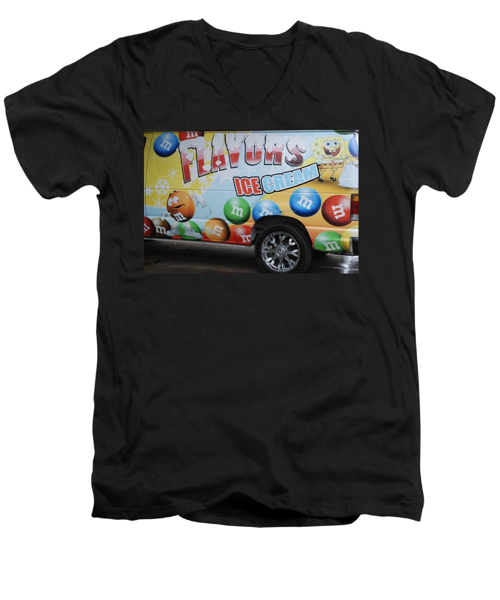 Sponge Bob Men's V-Neck T-Shirt featuring the photograph M And M Flavors For The Kids by Rob Hans